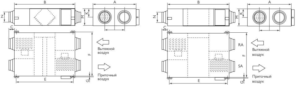 Схема приточно-вытяжной установки